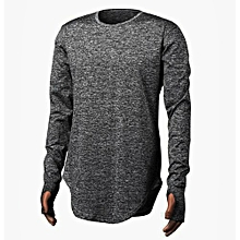 bluerdream-Men's Slim Crew Neck Long Sleeve Muscle Tee T-shirt Casual Blouse GY/L-Gray