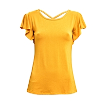 Yellow Short Sleeved Women's Top With A Back Strap