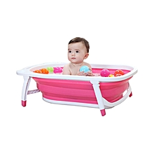 Travel Highly Foldable Pink Bath Tub - Pink & White