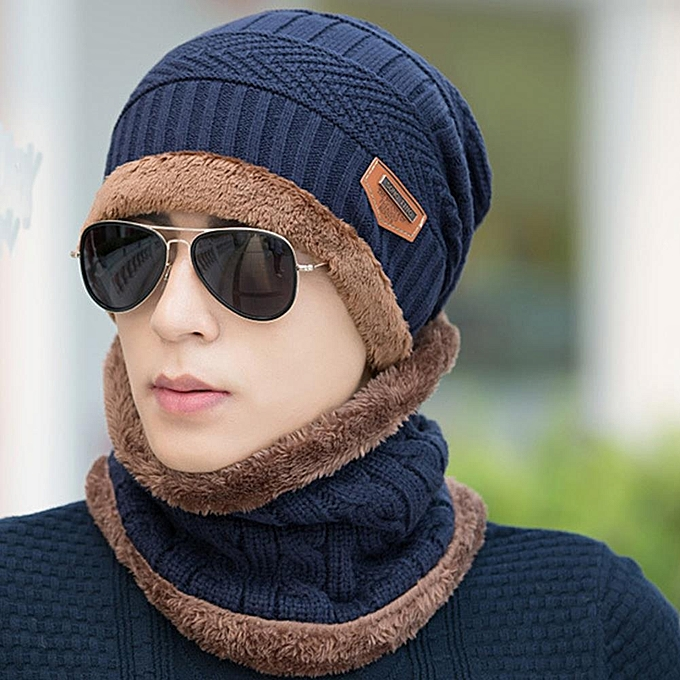 3987ca73f4fcc ... Knitted Hat Scarf Cap Neck Warmer Winter Hats For Men Women Skullies  Beanies Fleece ...