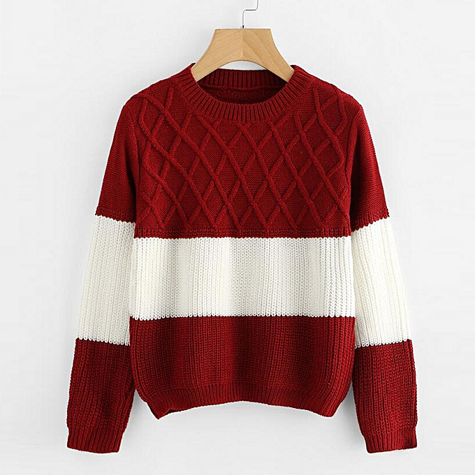 ae76a908098ce7 huskspo Fashion Women Casual Long Sleeve Patchwork O-Neck Knitted Pullover  Sweater Tops