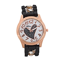 Black Rubber Women's Watch With Diamond Crystal