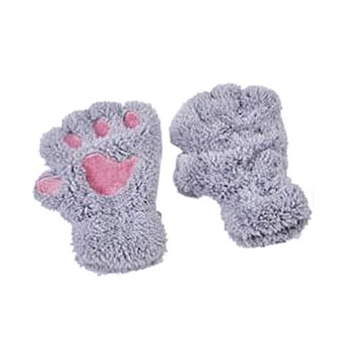 d657c0a4fd97 Fashion Winter Warm Half-finger Cute Bear Cat Paw Plush Mittens ...