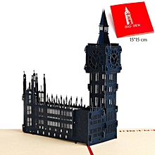 Big Ben 3D Hollow Carved Postcard Pop Up Greeting Cards For All Occasions blue