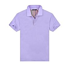 New Summer Fashion Casual Men's Short Sleeves Polo Shirts-Yellow-Light Purple