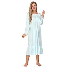 Womens Victorian Long Sleeve Pajamas Lace Patchwork Ruffled Hem Nightgown Sleepwear Dress ( Blue )