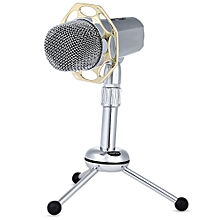 Yanmai Y10B Wired Condenser Microphone Support 3.5mm USB Plug SILVER