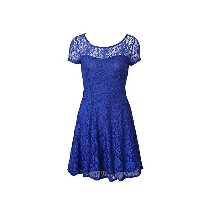 4c79631ccbd ... Fashion Cool Comfortable Dresses For Ladies Women Floral Lace Party  Dresses Short Sleeve Casual Color Blue ...