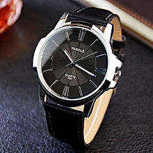 Men Luxury Stainless Steel Quartz Military Sport Leather Band Dial Wrist Watch Black