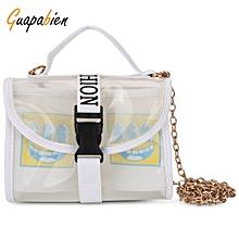 Guapabien Metal Alloy Chain PVC Summer Beach Shoulder Bag Buckle Belt Handbag for Women