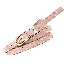 8fde0461404 RanickenFashion Women Vintage Accessorie Frosted Casual Buckle Thin Leisure  Leather Belt -Pink