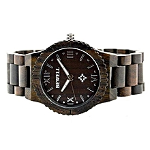 Men's Natural Woodenen Wristwatch Wooden Quartz Watch  + Box Coffee-Coffee