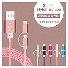 2 IN 1 USB Charging Cable 1M For Apple / Android Nylon Woven E-Thinker -Blue