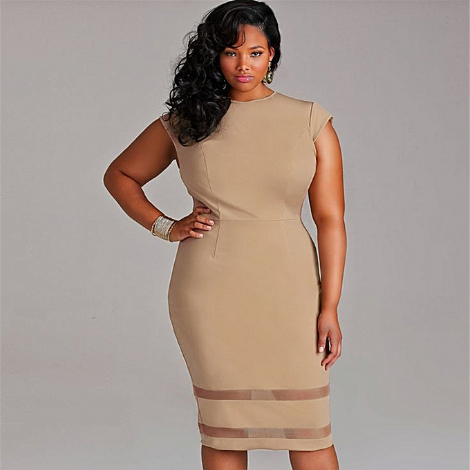 0c82efc072 Sexy Women Plus Size Bodycon Dress Mesh Splice Solid Color O-Neck High  Waist Slim
