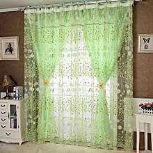 Floral Tulle Door Window Curtain Drape Panel Sheer Scarf Valances Green