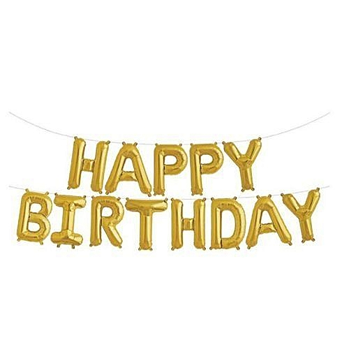 Generic Happy Birthday Balloons Self Inflating Balloon Fashion Golden Silver 13 Letters Banner Kids Party Decor