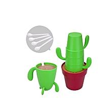 4pcs/set Stackable Cactus Plant Mugs Set Creative Plastic Cups -Red