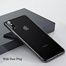 Baseus Ultra Thin Transparent Case For IPhone Xs Max Luxury Soft Silicone Back Cover With Dust Plug (6.5 Inch) (Black) MQSHOP