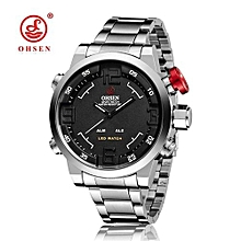 OHSEN Watch Men's Military Watches Men Luxury Brand Full steel Watch Sports Diver Quartz Multi-function LED Display Wristwatches