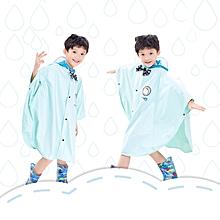Age Above 3 Kids British Style Cartoon Reusable Cloak Raincoat Hoodies(cyan M)