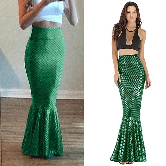 75dde50eab9d jiahsyc store Women Sexy Maxi Long Shiny Mermaid Skirts Shiny Fish Scale  Party Dress Skirts-