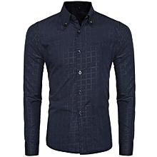 Fashion Mens Casual Shirts Long Sleeve Slim Fit Plaid Tops T-shirt DB M- Dark Blue   M