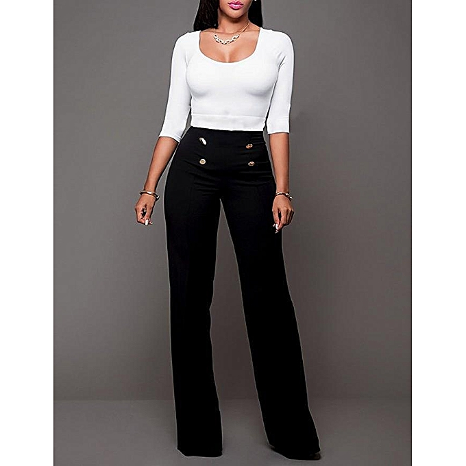 3a442e502e High Rise Piped Dress Pants Elegant Pants Women Work Wear High Waist Zipper  Fly Boot Cut