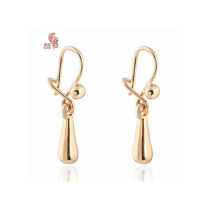 Er0468 J M Simple Style 18k Gold Plated Zircon Earrings Dangle Earring