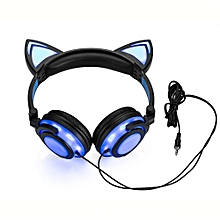 Foldable Cat Ear LED Music Lights USB Charger Headphone Earphone headset-Blue