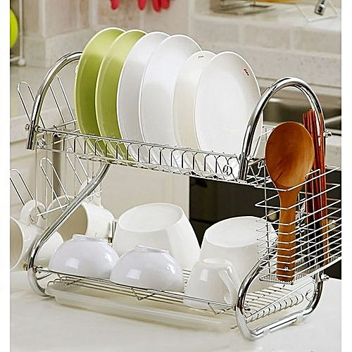generic high quality dish rack 2 tier stainless steel with drain board silver jumia kenya. Black Bedroom Furniture Sets. Home Design Ideas