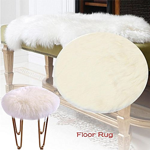 Remarkable Yazi Sheepskin Area Rug Faux Fur Round Carpet Flow Window Mat Chair Throw White120Cm Pabps2019 Chair Design Images Pabps2019Com