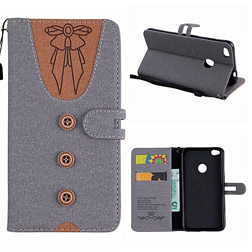 save off 83b8e ef059 Huawei P8 Lite 2017 Case,Cute Lovely Style Premium Jeans Denim Splice Hit  Color [Butterfly Knot] Pattern PU Leather +Soft TPU Wallet Stand Flip Case  ...