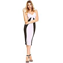Women Spaghetti Strap Contrast Color Patchwork Bodycon Club Midi Pencil Dress ( Black )