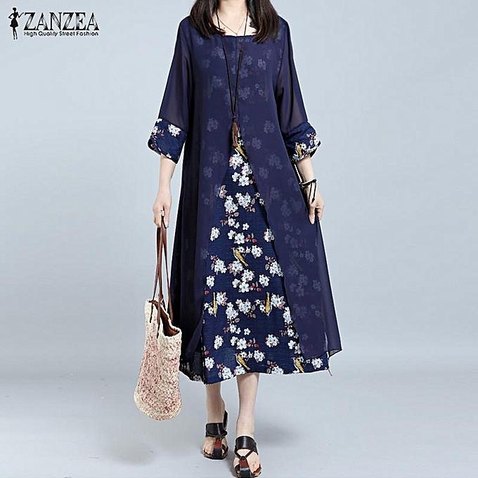 604488f8d0f44 ZANZEA Women Retro Floral Print Splice Loose Casual Long Shirt Dress Summer  Ladies 3 4