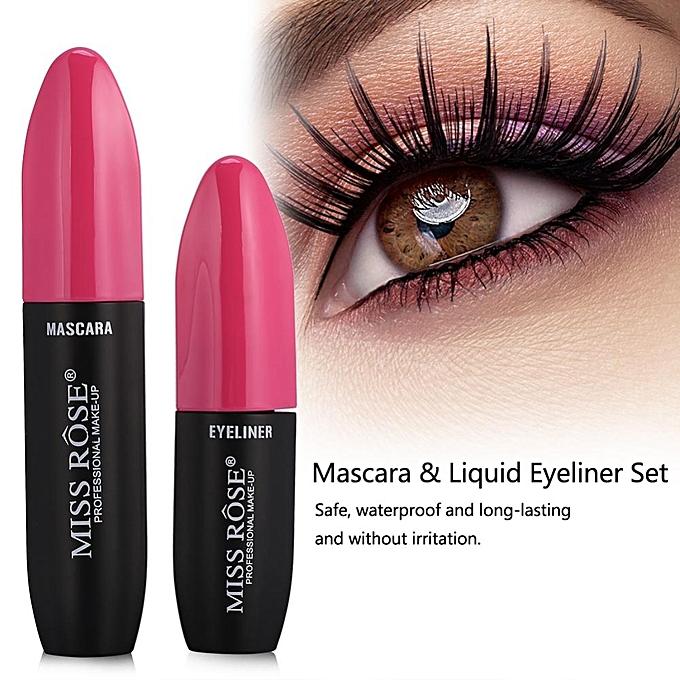 Universal Miss Rose 2in1 3d Fiber Mascara Liquid Eyeliner Waterproof