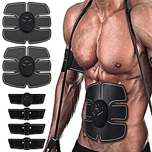Abdomen/Arm Muscle Stimulator EMS Training Electrical Body Shape Trainer - Black-