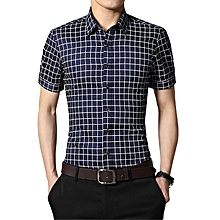 Fashion Checked Slim T-Shirt Business Formal Casual Marry Top T Shirts-Dark Blue