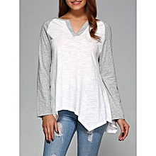 Raglan Sleeve Asymmetrical T-Shirt - Grey+White