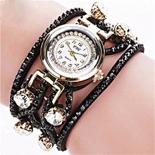 guoaivo CCQ Brand Vintage Bracelet Watch Women Wristwatch Quartz  -Black