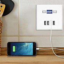 4 Ports LED Light USB Charger Wall Socket Charger Station For Construction Sites 220V White