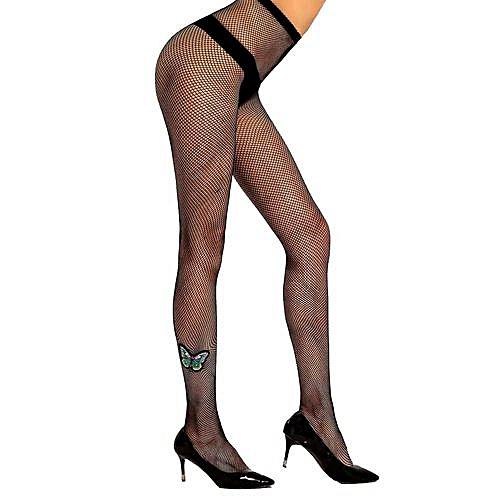 9617b27bbabf9 Fashion Wenrenmok Store Women's Sexy Pantyhose Hot Drilling Fishnet  Stockings Perspective Lingerie-Black