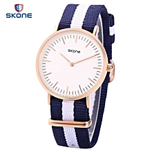 6165L Women Quartz Watch Japan Movt Concise Style Nylon Band Wristwatch-Blue And White-Blue And White
