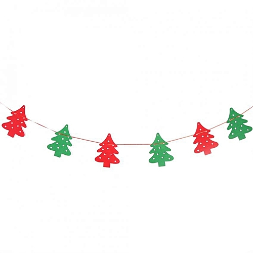 Non Woven Fabric Christmas Hanging Flags Banner Bunting Diy Wall Party Decor Christmas Tree