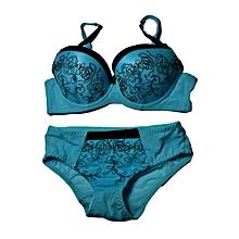 Stylish Matching Women's Bra and Panty Sets (Thin Cups) – Light Blue