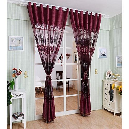Generic 1pc 250100cm Living Room Curtain Floral Tulle Door Window