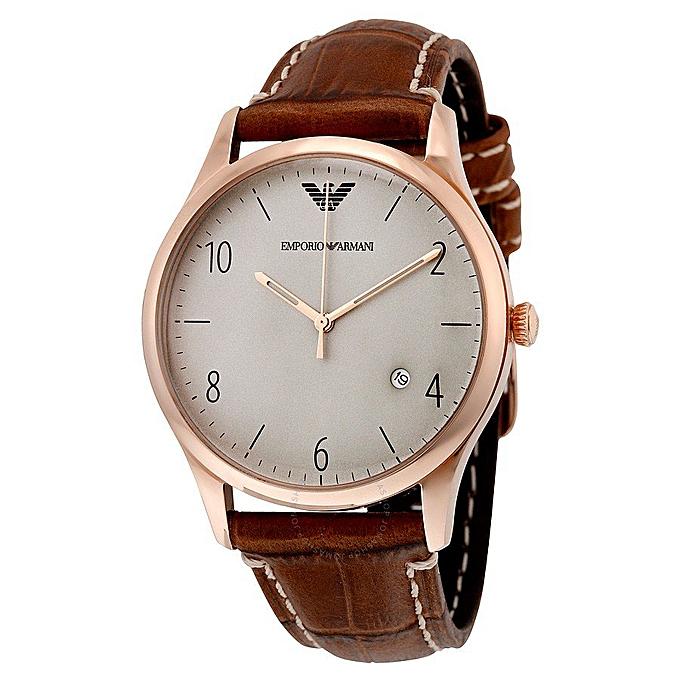 Emporio Armani Emporio Armani Classic Men s Brown Leather Band Watch ... 8d41c09255c90