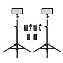 Andoer LED Video Light Kit include 2pcs W228 3200K/6000K Bi-Color Dimmable LED Video Light+2pcs Max. 72cm Light Stand+2pcs 7.4V 2200mAh Matched Battery & Battery Charger for ILDC DSLR Cameras