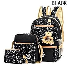 Hequeen Three-piece Canvas Printed Bags Women Girl Backpack School Satchel Shoulder Bag Rucksack Travel Bag Messenger Bag Coin Purse Handbags