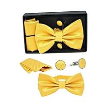 Men's Bow Tie, Cufflinks & Pocket Square Set - Yellow