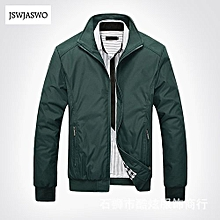 Nice Men's Casual Jacket Coat Men's Fashion Winter Long Sleeve Jacket Slim Fit Stand Collar-green
